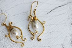"NonnaSoul ""Сandelabrum"" earrings with white majorca pearl $50.00"