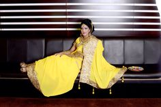 Royal yellow georgette saree with full gold trim