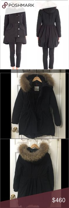 Moncler women fur trimmed down aredhel coat black Brought this last year. Super warm. Real fur. Price is lower on ️️. Contact: lizzylol90@yahoo.com Moncler Jackets & Coats