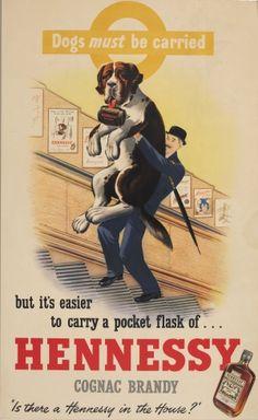 LT Hennessy Cognac St Bernard Dog, 1950s - original vintage poster listed on AntikBar.co.uk