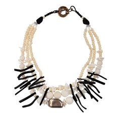 Necklace in white and black corals and shells by StudioBoneli