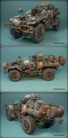 """Swagman M-1"" Scratchbuilt 1/35 scale. By Vladislav Titagin aka animator. #model_cars #scale_model #Post_Apocalyptic http://www.dishmodels.ru/gshow.htm?p=13980"
