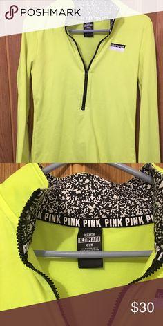 V/s pink neon yellow running zip up V/s pink zip up jacket like new worn once. Size medium PINK Victoria's Secret Tops Sweatshirts & Hoodies
