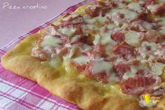Pizza crostino al prosciutto cotto (ricetta appetitosa). Ricetta pizza bianca con prosciutto cotto e mozzarella fatta come un crostino (anche senza glutine)