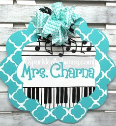 Teacher+Door+Hanger:+Personalized+Striped+Music+by+SparkledWhimsy