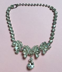Antique Vintage EISENBERG 1950's Clearcut Rhinestone Necklace SIGNED Adjustable #Eisenberg #Choker