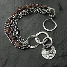 Bracelet is made of oxydized and rubbed silver and raw garnet, silver elements size from 15 to 25 mm - inches). Metal Jewelry, Jewelry Art, Sterling Silver Jewelry, Beaded Jewelry, Jewelry Bracelets, Jewelry Design, Jewellery, Silver Bracelets, Crystal Jewelry