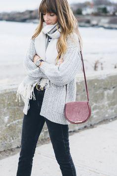 Cuyana Alpaca cardigan and mini saddle bag / Jess Kirby