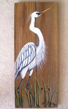 White Egret/ Heron hand painted on reclaimed fence boards looks great when displayed in any tropical decor. This rustic painting also looks great on