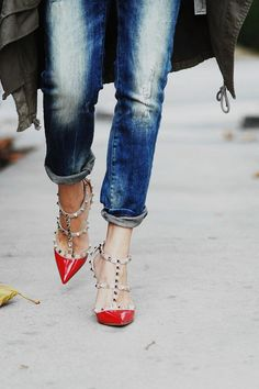 Love You Madly Studded T-Strap Pointed Heels - Red