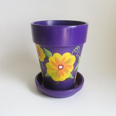 Purple Flower Pot Mexican Style Design With Bright Yellow Flowers 5 Inch Terra Cotta Clay Hand Painted Planter