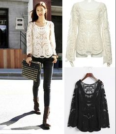 Floral Lace Crochet Blouse from Picsity.com