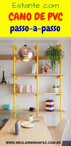PVC Pipe Shelf: Check out Step-by-Step and Easy DIY IdeasHow to Make a Bookcase with PVC Pipes: To make the bookcase, you will need only pipes and wood to serve as the base of the Diy Pipe Shelves, File Cabinet Desk, Painting Cabinets, Furniture Making, Diys, Diy And Crafts, Easy Diy, Bookcase, Sweet Home