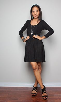Short Black Dress Long Sleeves    Casual Black Dress  by Nuichan, $52.00
