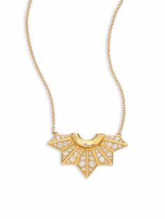 Ron Hami Diamond & 18K Yellow Gold Fan Pendant Necklace