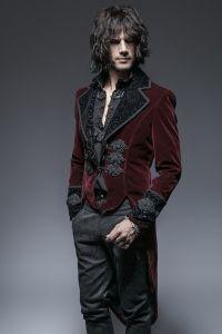 Viktorianische Frack Jacke mit Samt und Posament Schliessen