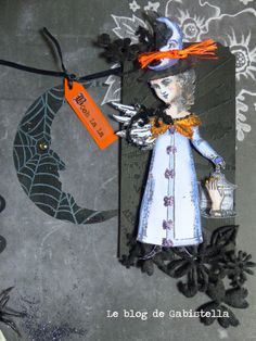 Halloween Tag art by Vilma Gasnier working with Character Constructions art stamps, Timekeeper's Garden collection.