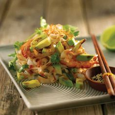 Asian Noodles with Ginger, Garlic and Avocado   #recipe #AustralianAvocados
