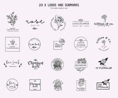 Floral logo and branding bundle by Negative Space on @creativemarket