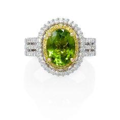 .66ct Diamond and Peridot 22k Yellow Gold and 18k White Gold Ring