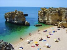 Escape to these breathtaking beaches Olhos de Agua Beach, Abufeira, Portugal Belem Portugal, Albufeira Portugal, Portugal Tourism, Beaches In The World, Places Around The World, Around The Worlds, Places To Travel, Places To See, Travel Destinations