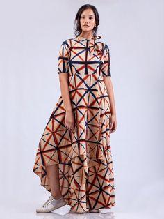 Red Indigo Organic Cotton Aurora Asymmetric Dress