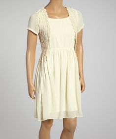 Another great find on #zulily! Beige Lace-Accent Dress by Lady Noiz #zulilyfinds