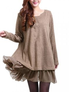 Plus Size Chiffon Patchwork Bowknot Back Long Sleeve Dress