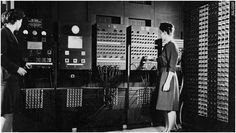 "Not all war workers were on assembly lines. Women were also as mathematicians and computers (that's ""compute-ers""). In this photo, Jean Jennings Bartik and Frances Bilas Spence get ready to present an early computer to military officials in 1946. From Sociological Images, more at link"