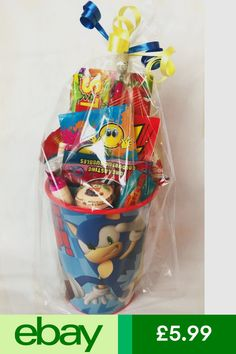 Sonic The Hedgehog Pre Filled Party Cup Gift / Christmas Stocking Filler Sonic Birthday Cake, Sonic Cake, Sonic Birthday Parties, Sonic Party, 2nd Birthday Party Themes, Birthday Favors, Birthday Party Decorations, Boy Birthday, Minnie Mouse Party