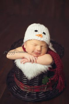 Knitting Pattern Instant Download - Snowman Hat Scarf Pattern, Newborn Hat Pattern - Baby Hat Pattern, Newborn Photo Prop Permission to Sell on Etsy, $5.00
