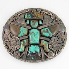 MASSIVE Navajo JIMMY VICTOR BEGAY Sterling  Turquoise Knifewing Belt Buckle |G