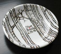 Hand Painted Small Porcelain Dish With Aspen Trees - Personalized - Anniversary Or Wedding Gift by Mary Elizabeth Arts on Gourmly
