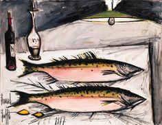 Bernard Buffet - Deux saumons roses; Dimensions: 45 X 57.5 in (114.3 X 146.05 cm)
