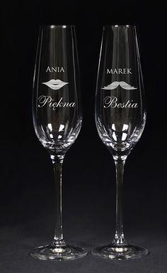 Grawerowane kieliszki do szampana PIĘKNA I BESTIA