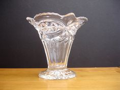 1940s Glass Vase Vintage Glass Vase Art Deco Glass by FillyGumbo