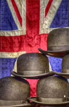 The Union Bowlers in Portobello Road Market, London. Must say, I've worn the flag but never the bowler. Notting Hill, Portobello, Tweed, British Things, British Invasion, England And Scotland, Lord Byron, London Calling, Union Jack