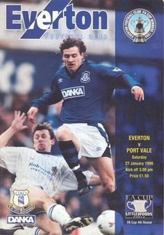 EVERTON FC V PORT VALE FC - FA CUP 4TH ROUND 1996 - 27TH JANUARY - MATCH DAY PROGRAMME