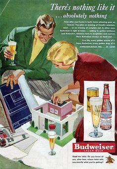 1950 Budweiser Beer-Model Home-Blueprints-Plan -Original * Magazine Ad Beer Advertisement, Old Advertisements, Vintage Ads, Vintage Posters, Vintage Food, Retro Ads, Beer Commercials, Alcohol Humor, Beer Company