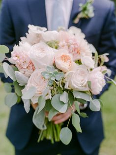 Succulent, peony and eucalyptus wedding bouquet: http://www.stylemepretty.com/colorado-weddings/tabernash/2016/10/10/rustic-glamour-pastel-outdoor-ranch-wedding/ Photography: Connie Whitlock - http://conniewhitlockphoto.com/