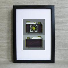 Vintage camera mounted print - Kodak Retinette RFB