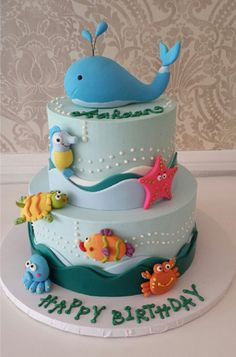 Ocean whale fish Birthday Cakes for Kids