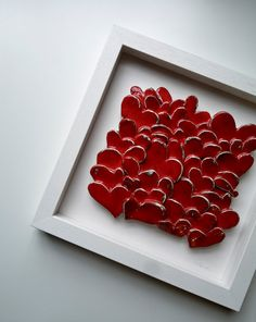 inspiring me to do something polymer clay alike with my kids! Love Hearts, modern wall art, sculptural ceramic tile, red heart home decor