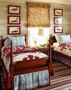 pair of spool beds, twin beds, spindle, bird prints, tan, red, blue, quilts, traditional bedroom, guest, striped rug