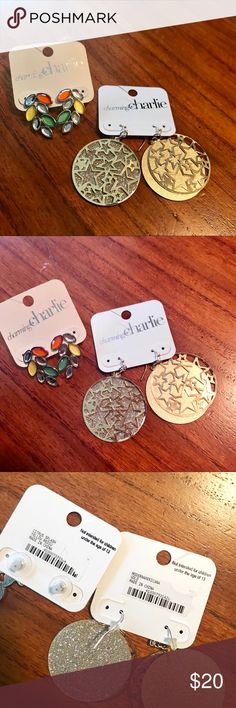 [NWT] Earrings Two pair of Charming Charlie's dangle earrings. Brand new never been worn! Gold round stars & green orange and silver 😊 Charming Charlie Jewelry Earrings