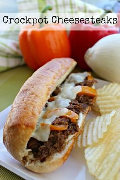 Crockpot Cheesesteak Recipe - This crockpot cheesesteak recipe lets you have the flavor of a Philly-style cheesesteak without stinking up your house!