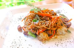 Stir fried rice noodles Drake Bay Cafe Drake Bay, Osa Peninsula Costa Rica #food #coffee #foodie