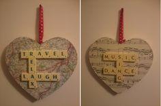 Scrabble hearts Scrabble Letter Crafts, Scrabble Ornaments, Scrabble Wall Art, Puzzle Crafts, Scrabble Letters, Scrabble Tiles, Frame Crafts, Crafty Craft, Crafting