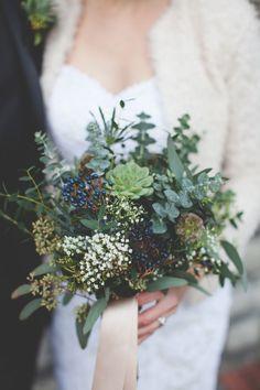 green and blue bouquet, photo by 3Photography http://ruffledblog.com/toronto-winter-wedding #flowers #bouquet #wedding