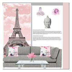 """Pink and Gray Decor"" by aneetaalex ❤ liked on Polyvore featuring interior, interiors, interior design, casa, home decor, interior decorating, Zuo, CB2, Daum e Hello Kitty"